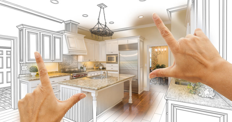Hands Framing Custom Kitchen Design Drawing and Photo Combo